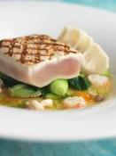 grilled albacore tuna with bok choy, edamame and shimeji mushrooms