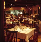 The warm interior of Cioppino's looks into Pino's state of the art kitchen