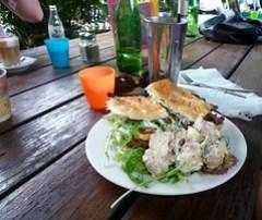 Spicey lamb sandwich and potato salad