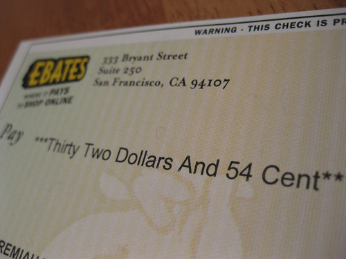 Ebates Cash Back Rebate Check