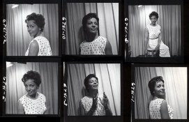 Portion of contact sheet of Eleanor Collins photo shoot, ca. 1960 (Franz Lindner, CBC)
