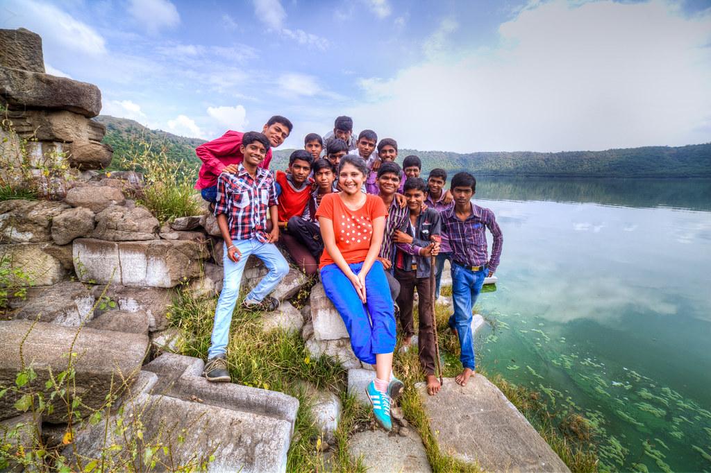 Priya with the local boys at Lonar lake