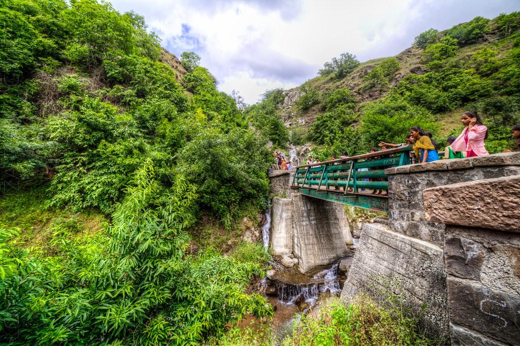Bridge to the Gomukh Temple, at the Lonar lake