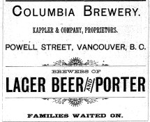 1889 Advertisement for Columbia Brewery (1889 City Directory)