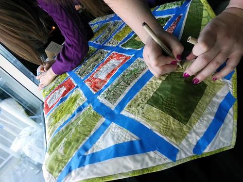 Signing Lauren's Wedding Signature Quilt