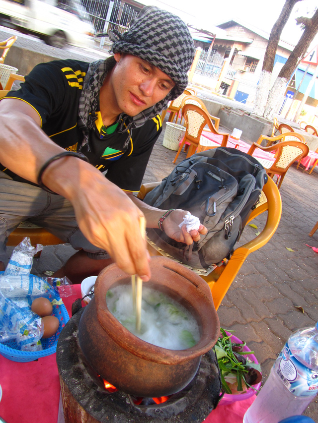 Me, cooking a Laos hot pot in Savannakhet, Laos