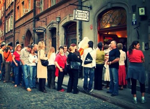 Ice cream queue, Warsaw