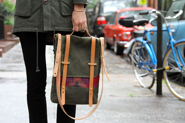 The Prickley Mountain Bag in Cove Green Waxed Canvas and Pink Ikat