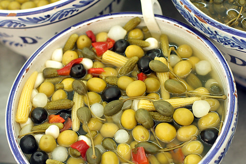 Spanish olives, garlic, capers, etc