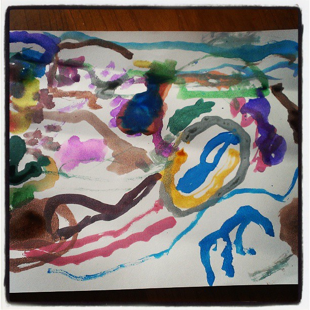 Painting by the resident 3 year old...