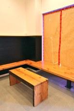 Deeply recessed hangout area by the front door