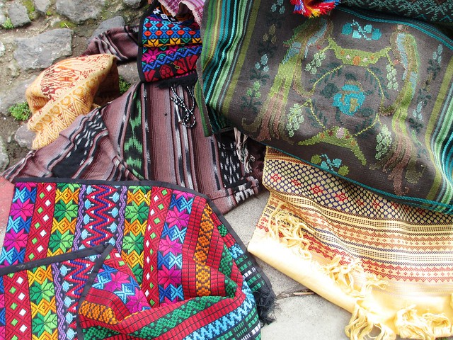 Beautiful Mayan Guatemalan Textiles Outside Porta Hotel, Antigua, Guatemala, May 2014