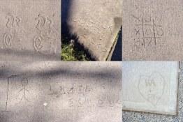 Composite of concrete graffiti and decorative stamp