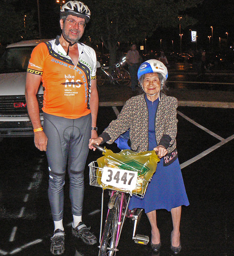 Eiko rides 150 miles for MS research in New Jersey wearing a dress and heels.