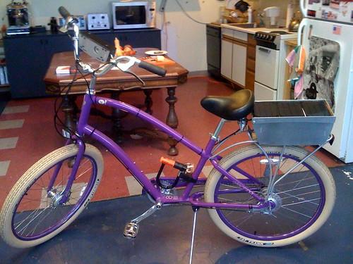 My new Yahoo! purple GPS Flickr photo bike