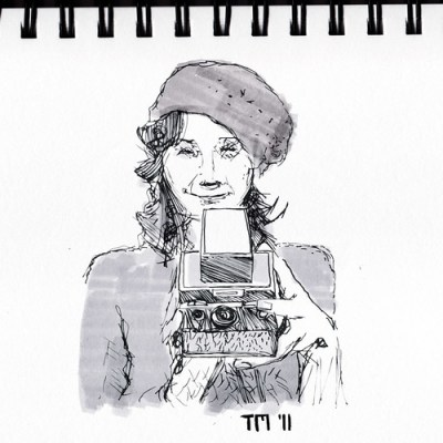 Sketch Of Girl With Vintage Polaroid Camera
