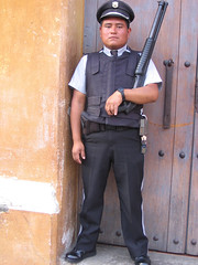 Security guard at Guatemala bank