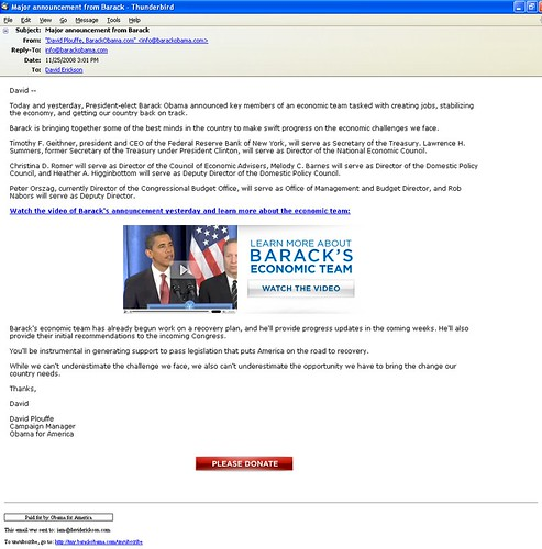 Obama Email Announcing Economic Team On 11/25/08