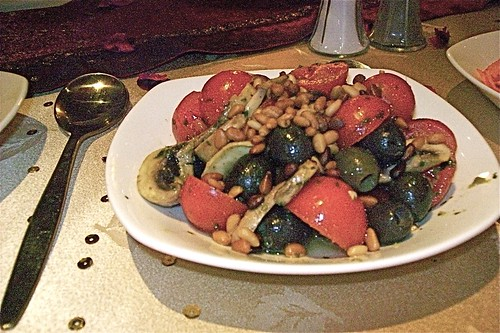 Tomato Salad with Mushrooms, Olives and Pinenuts