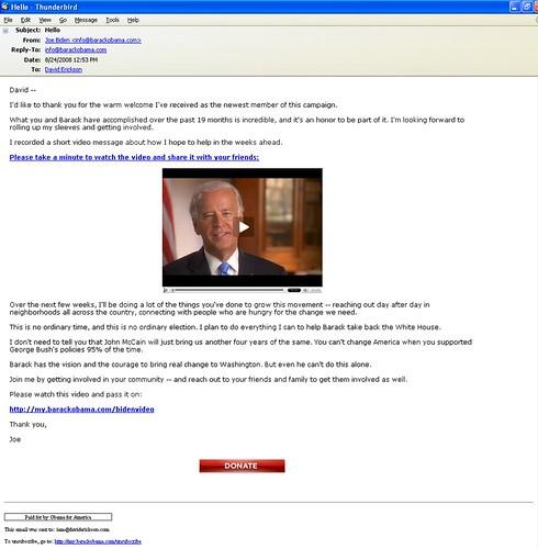Obama Joe Biden VP Pick Announcement Email On 08/24/08