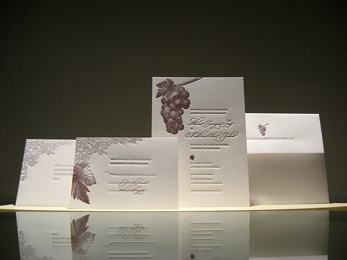 Grape Vine Letterpress Wedding Invtiation Set