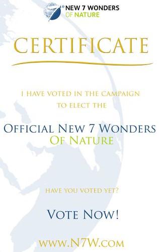 New 7 Wonders Of Nature Vote Certificate