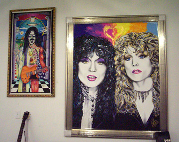 Bill Foss paintings of Frank Zappa and Heart.