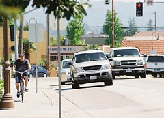 Mission Street sidewalk cyclist