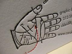 Cara Lynn Kleid Letterpress Business Card (closeup)