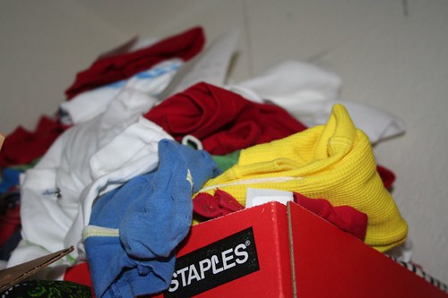 box of tees in my closet