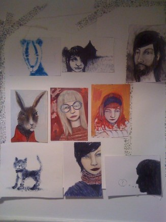 wall of drawings I plan to get round to sometime