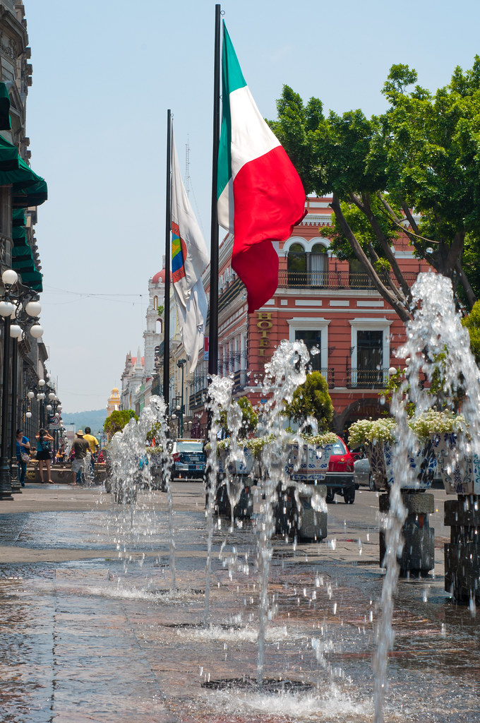 Fountains in the zocalo in Puebla, Mexico