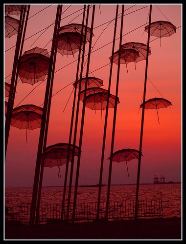 umbrellas of Thessaloniki Greece