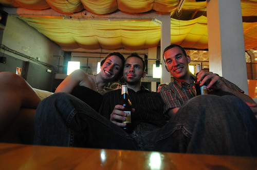 Mary, Sanjin and Dave enjoying beer in a lounge