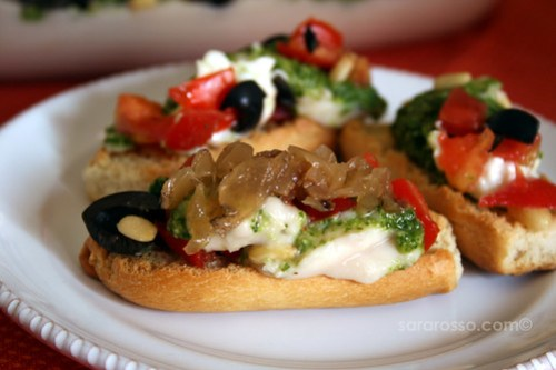 7-layer Dip, Italian style, on Crostini