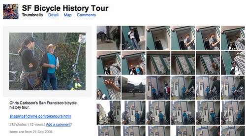 Screeenshot of SF Bicycle History Tour