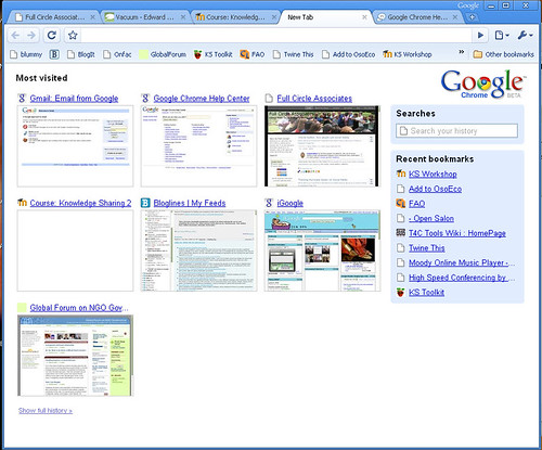 Chrome Page with my Most Viewed