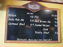 Brewer's Alley beer board