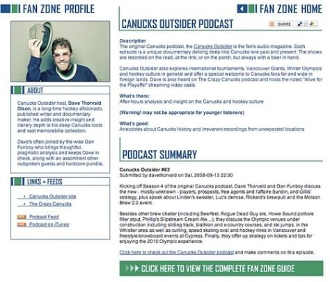 Canucks Outsider podcast on Canucks.com Fanzone