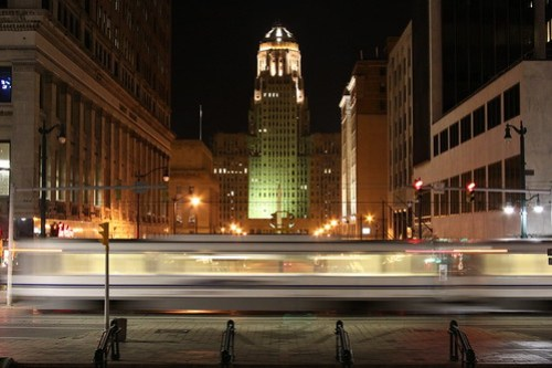 Buffalo City Hall with metro subway by you.