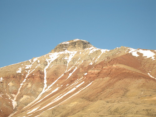 Pyramid-shaped mountain - Pyramiden, an Arctic ghost town on Spitsbergen in the Svalbard Archipelago, Norway.