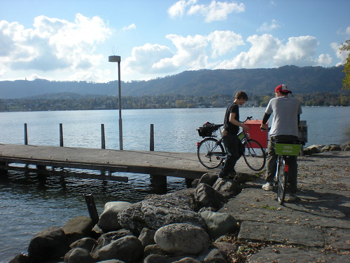 On my rented bicycle alongside Brian Blanda, my college buddys brother in Zurich.