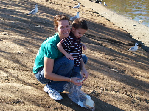 Jana and grant feeding ducks