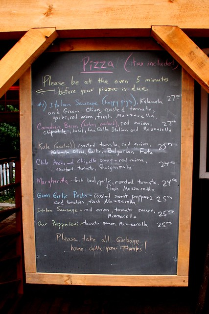 pizza menu at the farm