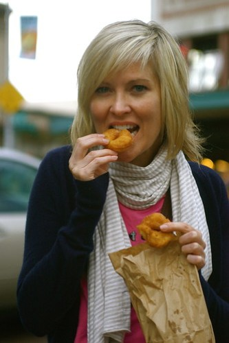Sharon eating doughnuts