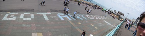 Chalk Based Discussion Forum on Brighton Beach - Panorama