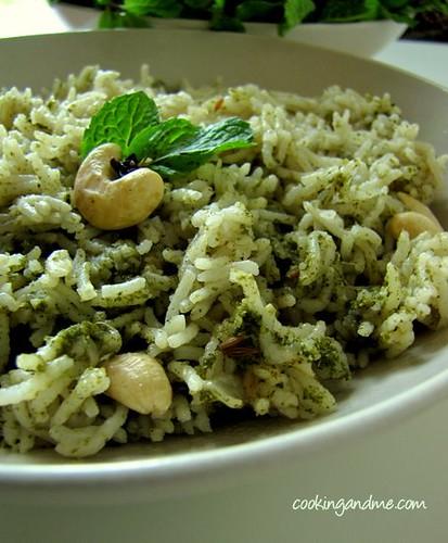 Pudina Pulao - Mint Rice Recipe - Pudina Rice Recipe