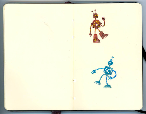 sketchbook and paint: two little robots