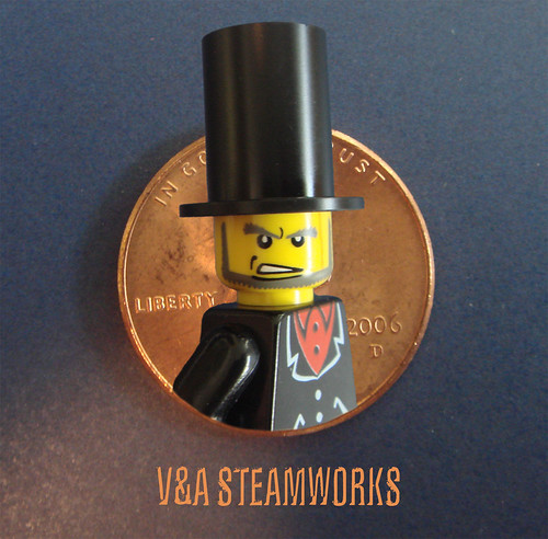 LEGO Abraham Lincoln penny with custom stovepipe hat