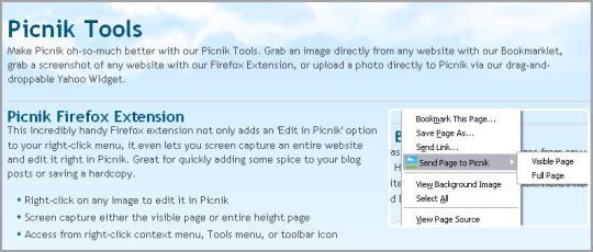 Picnik Tools